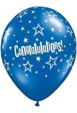 "11"" Printed Festive Congratulations Star Balloon 1 Dozen Flat"