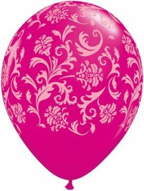 "11"" Printed Wild Berry Damask Balloon 1 Dozen Flat"