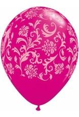 "11"" Printed Wild Berry Damask Balloon 1 Dozen Flat"