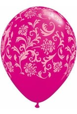"11"" Wild Berry Damask Balloon Uninflated"