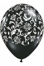 """11"""" Printed Black Damask Balloon 1 Dozen Flat"""