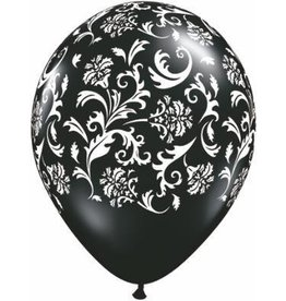 "11"" Printed Black Damask Balloon 1 Dozen Flat"
