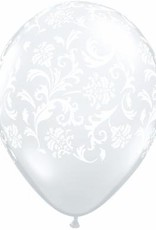 "11"" Printed Clear Damask Balloon 1 Dozen Flat"