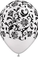 "11"" Printed Pearl White Damask Balloon 1 Dozen Flat"
