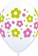 "11"" Printed Daisy Dots & Hearts Balloon 1 Dozen Flat"
