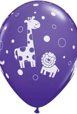 "11"" Printed Cute & Cuddly Jungle Animals Balloon 1 Dozen Flat"