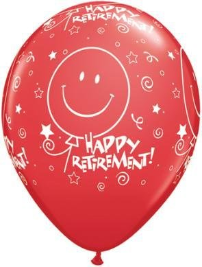 "11"" Printed Festive Retirement Smile Balloon 1 Dozen Flat"