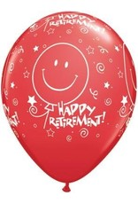 "11"" Printed Festive Retirement Smile Balloon 1 Dozen Flat"