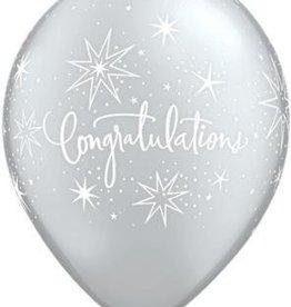 "11"" Printed Congratulations Elegant Sparkle Balloon 1 Dozen Flat"