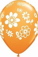 """11"""" Printed Daisies Balloon 1 Dozen Flat"""