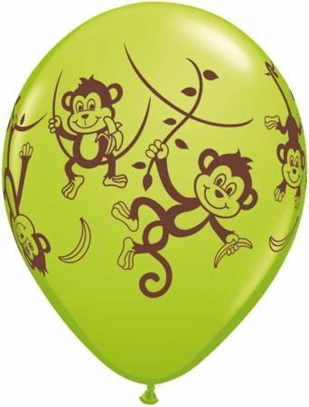 "11"" Printed Mischievous Monkeys Balloon 1 Dozen Flat"
