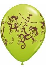"11"" Printed Mischievous Monkeys Balloon 1 Dozen Flat"