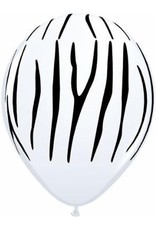 "11"" Printed White Zebra Stripes Balloon 1 Dozen Flat"