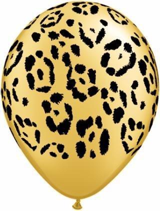 "11"" Printed Gold Leopard Spots Balloon 1 Dozen Flat"