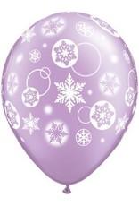 """11"""" Printed Snowflakes & Circles Balloon 1 Dozen Flat"""