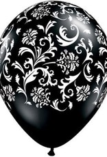 "11"" Printed Damask Onyx Black Balloon 1 Dozen Flat"