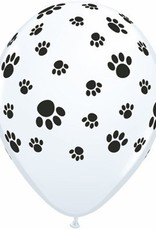 "11"" Printed White Paw Prints Around Balloon 1 Dozen Flat"