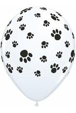 """11"""" Printed White Paw Prints Around Balloon 1 Dozen Flat"""