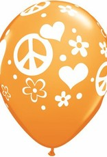 "11"" Printed Tropical Peace Sign & Hearts Balloon 1 Dozen Flat"