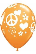 """11"""" Printed Tropical Peace Sign & Hearts Balloon 1 Dozen Flat"""