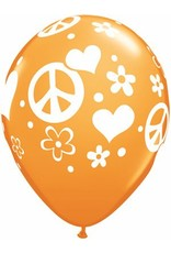 """11"""" Tropical Peace Sign & Hearts Balloon Uninflated"""