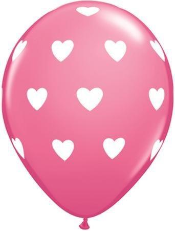 "11"" Printed Big Hearts Balloon 1 Dozen Flat"