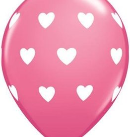 "11"" Printed Big Hearts Balloon 1 Dozen Flat"