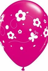 """11"""" Printed Tropical Daisies & Butterflies Balloon 1 Dozen Flat"""