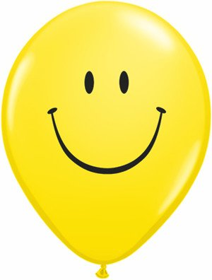 "11"" Printed Yellow Smile Face Balloon 1 Dozen Flat"