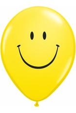 """11"""" Printed Yellow Smile Face Balloon 1 Dozen Flat"""