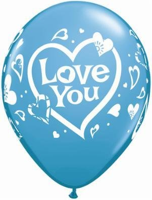 "11"" Printed Love You Balloon 1 Dozen Flat"