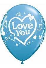 "11"" Printed Love You Balloon 1 Dozen Flat"
