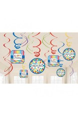 Bright Birthday Value Pack Foil Swirl Decorations (12)