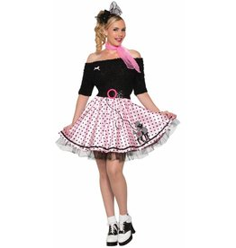 Women's Costume 50's Mid-Length Poodle Skirt Pink