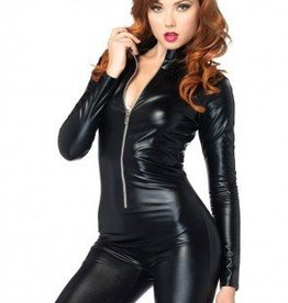 Women's Costume Wet Look Zipper Front Catsuit Medium