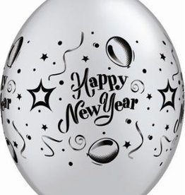"12"" Printed Silver New Years Party Quicklink Balloon 1 Dozen Flat"
