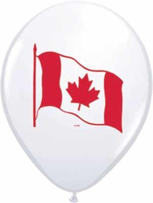 """11"""" White Canada Flag Balloon Uninflated"""