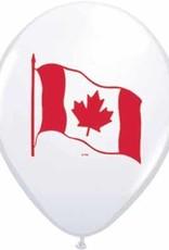 """11"""" Printed White Canada Flag Balloon 1 Dozen Flat"""