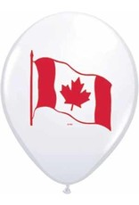 "11"" Printed White Canada Flag Balloon 1 Dozen Flat"