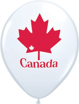 "11"" Printed White Patriotic Maple Leaf Balloon 1 Dozen Flat"