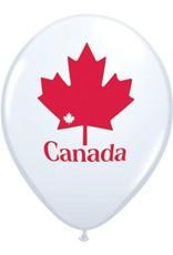 """11"""" Printed White Patriotic Maple Leaf Balloon 1 Dozen Flat"""