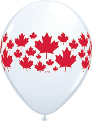 "11"" Printed White Maple Leaf Around Balloon 1 Dozen Flat"