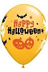 "11"" Printed Goldenrod Halloween Fun Icons Balloon 1 Dozen Flat"