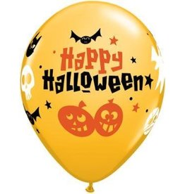 "11"" Printed Goldenrod Halloween Fun Icons Balloon 1 Dozen Flat"