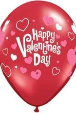 """11"""" Printed Valentine's Pink Hearts Balloon 1 Dozen Flat"""
