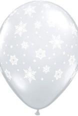 """11"""" Printed Clear Snowflakes Balloon 1 Dozen Flat"""