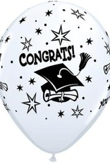 """11"""" Printed White Congrats! Cap Balloon 1 Dozen Flat"""