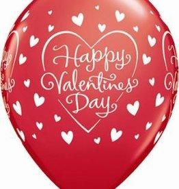 """11"""" Printed Valentine's Dazzling Hearts Balloon 1 Dozen Flat"""