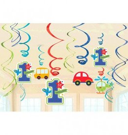 All Aboard Boy Value Pack Foil Swirl Decorations