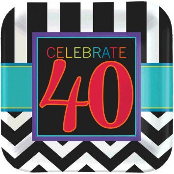 "40th Celebration Square 7"" Plate 8pc"
